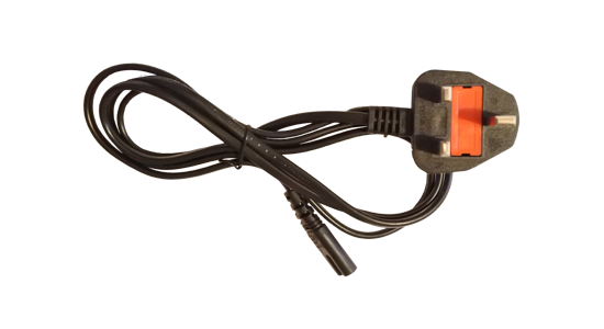 image of iec-c7 figure of eight uk mains power lead