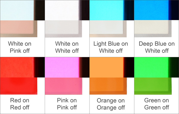 image showing the colours of el panels lit and unlit