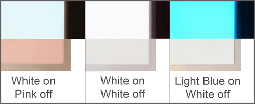 showing the difference between white panels lit and unlit