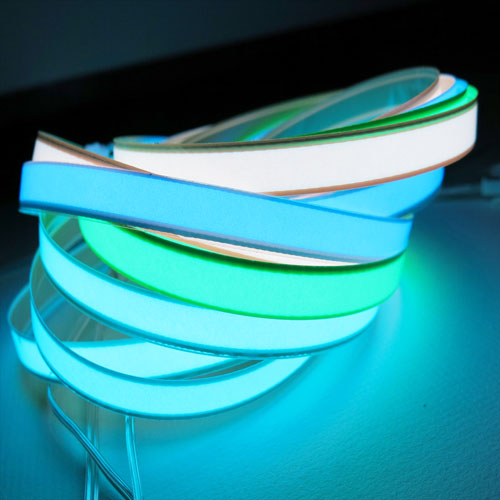 1cm x 1meter el tape, glowing tape available in a selection of vivid colours with various backings and el drivers