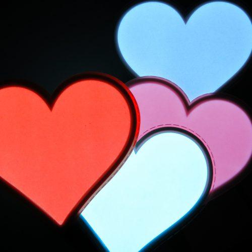 Glowing el panel hearts