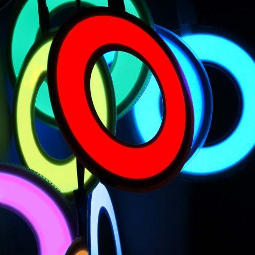 6cm glowing hoop, electroluminescent shape.