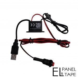 4.5V USB water resistant driver with or without a switch. Suitable to make 10 - 100 square centimetres of el panel or tape glow.