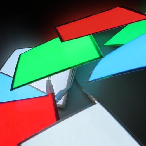10 x 10cm square electroluminescent panels