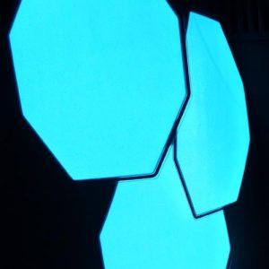 Glowing octogon shaped el panels