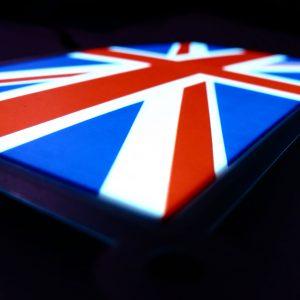 Glowing Union Jack flag