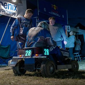 24fr lawnmower racing night time el panel glowing numbers